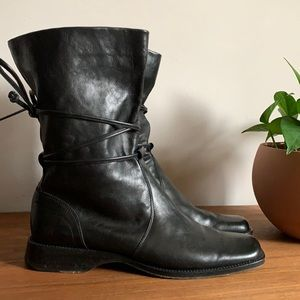 Black Leather Wrap Tie Square Toe Boot Size 9